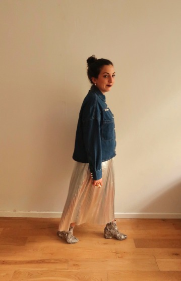 Denim shirt & a silver skirt